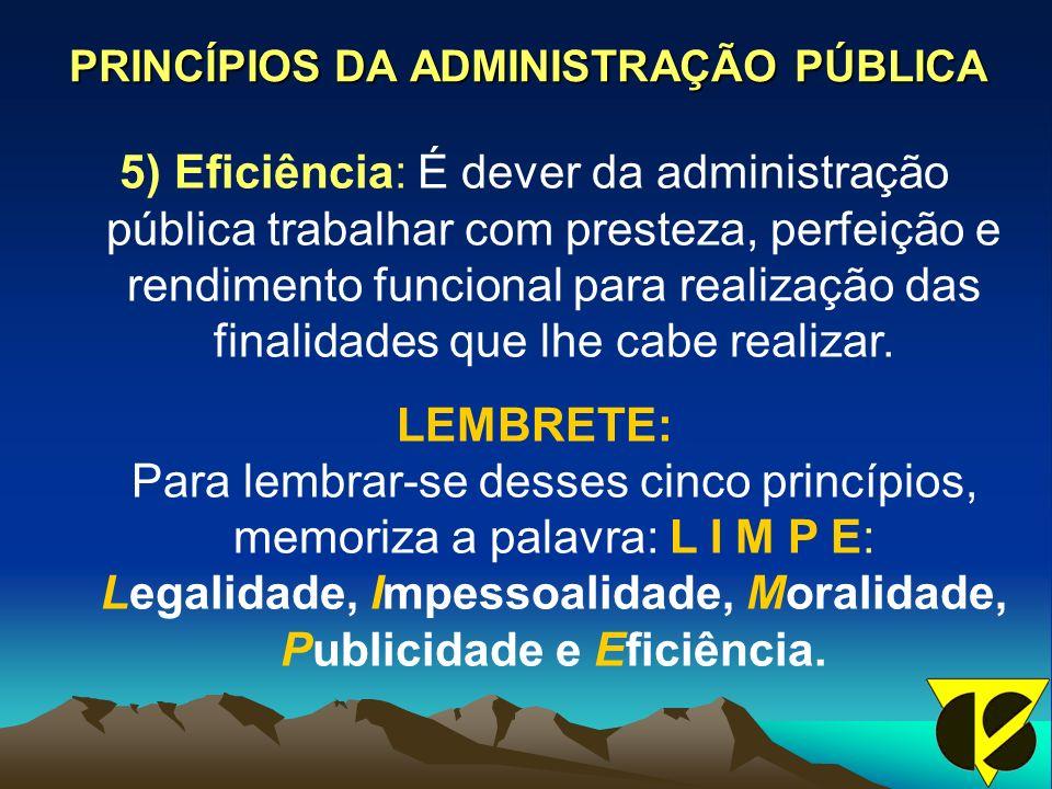 PRINCÍPIOS DA ADMINISTRAÇÃO PÚBLICA 5) Eficiência: É dever da administração pública trabalhar com presteza, perfeição e rendimento funcional para realização das finalidades que lhe cabe realizar.