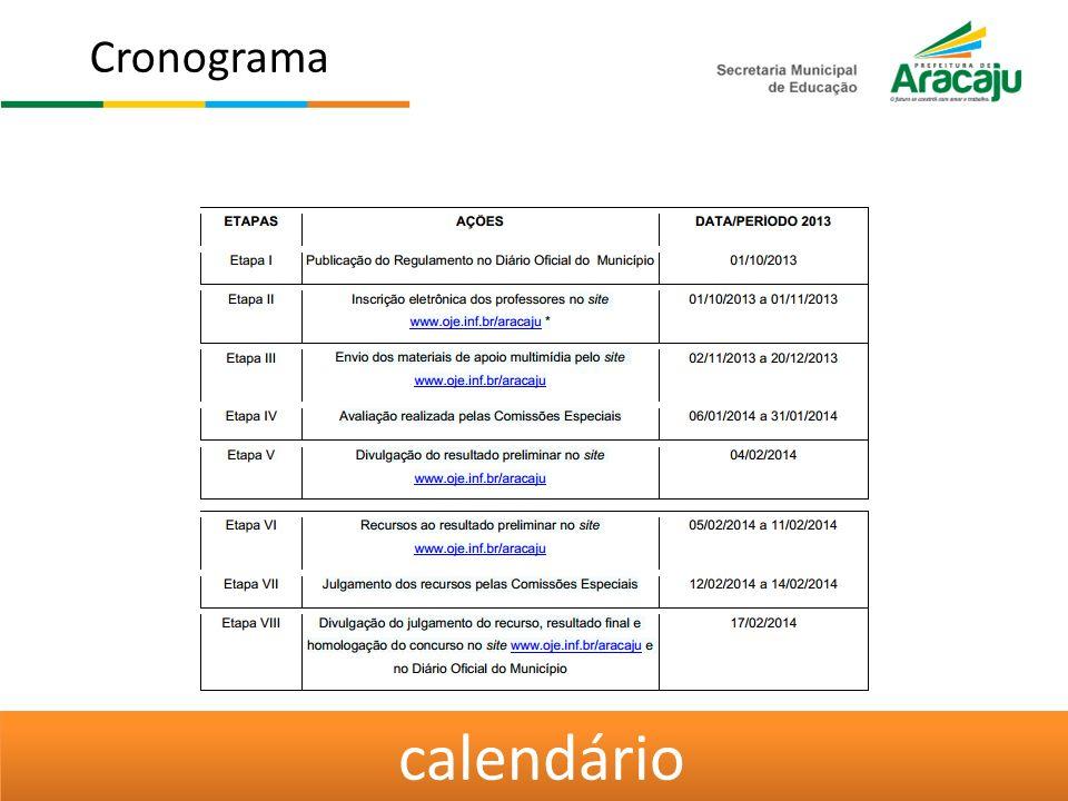Cronograma calendário