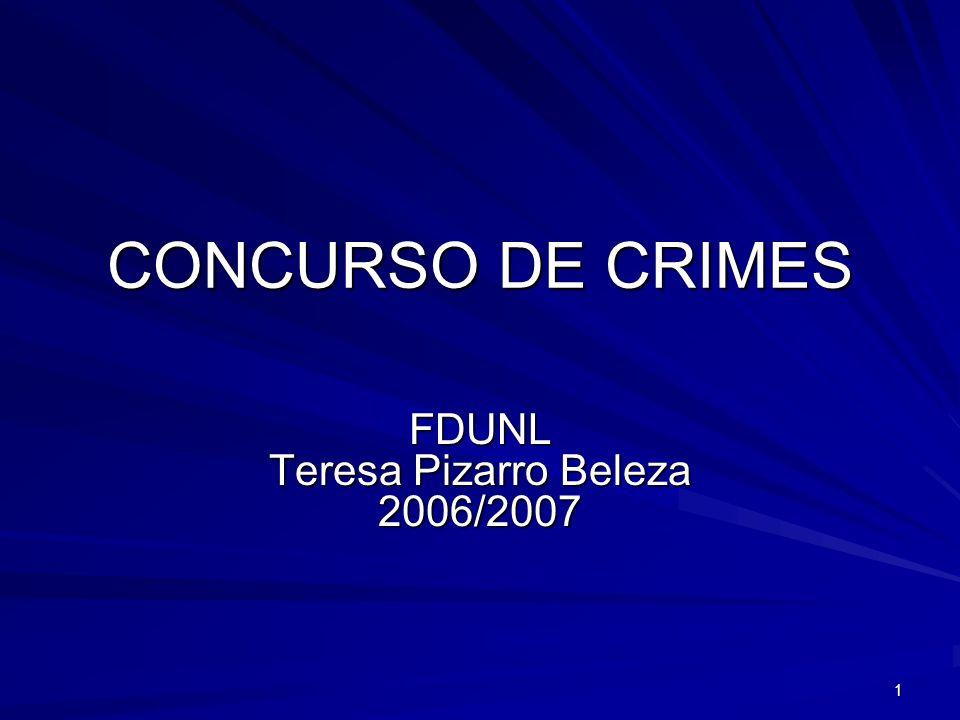 1 CONCURSO DE CRIMES FDUNL Teresa Pizarro Beleza 2006/2007