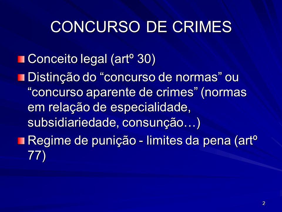 2 CONCURSO DE CRIMES Conceito legal (artº 30) Distinção do concurso de normas ou concurso aparente de crimes (normas em relação de especialidade, subs