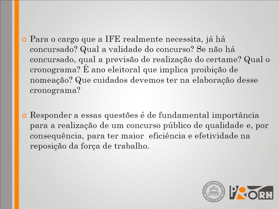 Para o cargo que a IFE realmente necessita, já há concursado? Qual a validade do concurso? Se não há concursado, qual a previsão de realização do cert
