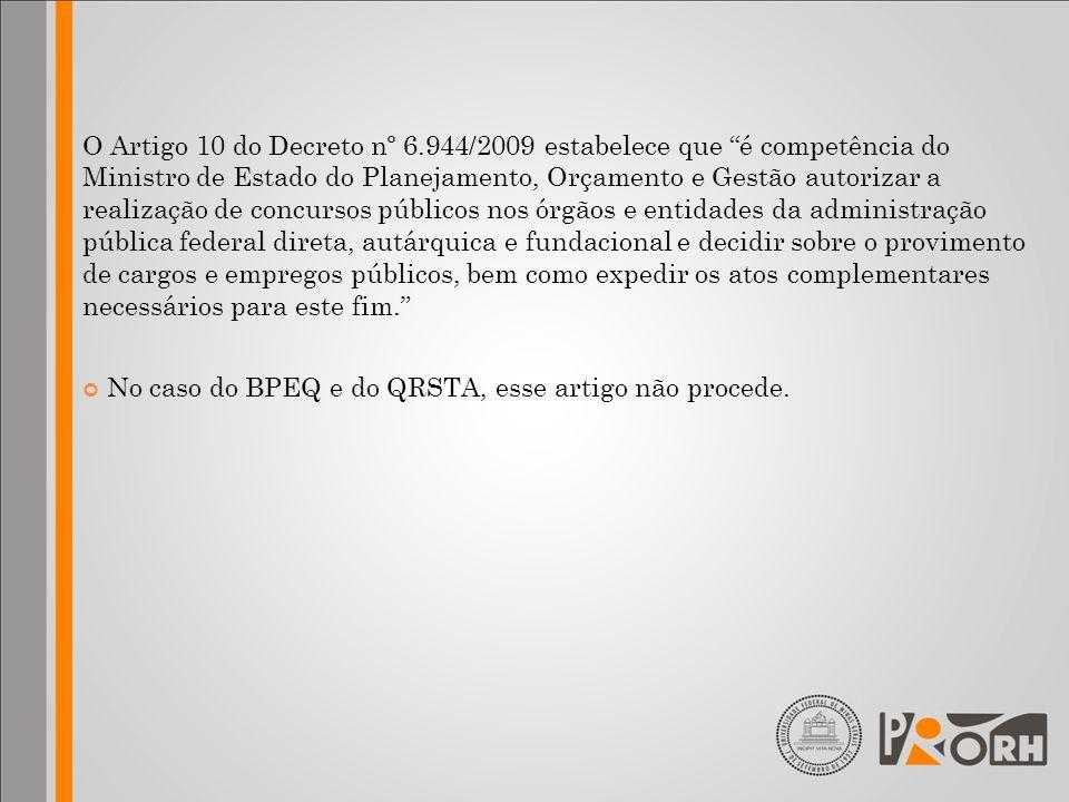 O Artigo 10 do Decreto nº 6.944/2009 estabelece que é competência do Ministro de Estado do Planejamento, Orçamento e Gestão autorizar a realização de
