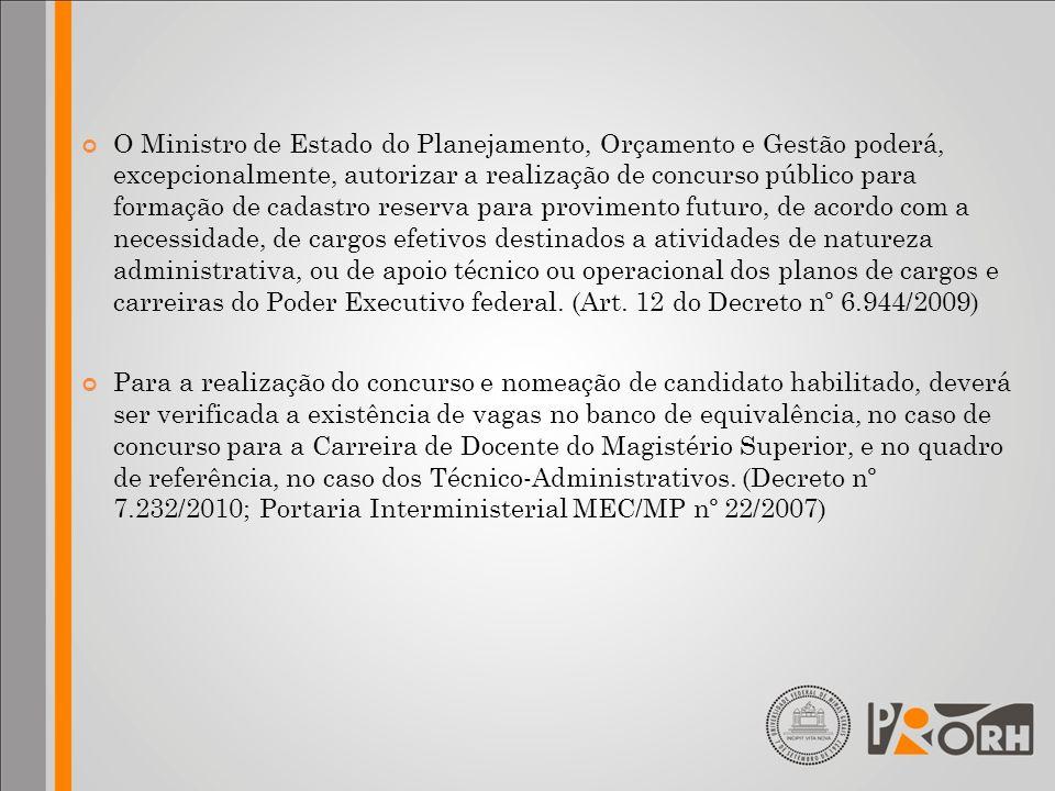 O Ministro de Estado do Planejamento, Orçamento e Gestão poderá, excepcionalmente, autorizar a realização de concurso público para formação de cadastr