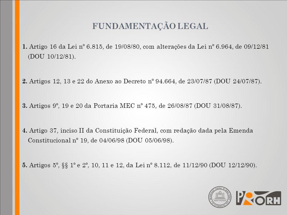 FUNDAMENTAÇÃO LEGAL 1. Artigo 16 da Lei nº 6.815, de 19/08/80, com alterações da Lei nº 6.964, de 09/12/81 (DOU 10/12/81). 2. Artigos 12, 13 e 22 do A