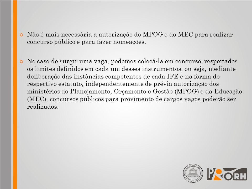 Não é mais necessária a autorização do MPOG e do MEC para realizar concurso público e para fazer nomeações. No caso de surgir uma vaga, podemos colocá