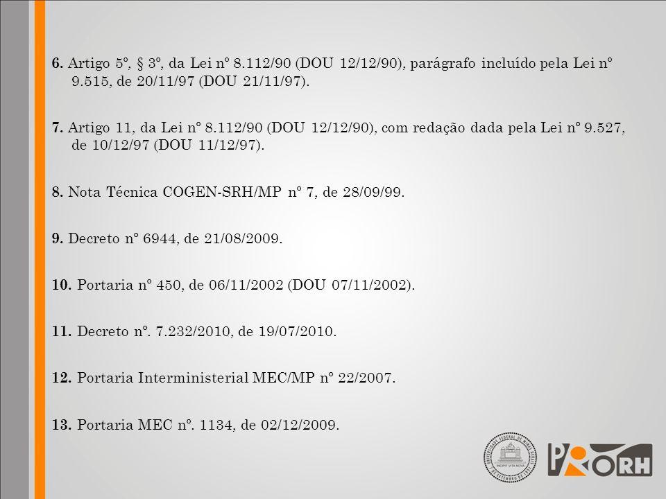 6. Artigo 5º, § 3º, da Lei nº 8.112/90 (DOU 12/12/90), parágrafo incluído pela Lei nº 9.515, de 20/11/97 (DOU 21/11/97). 7. Artigo 11, da Lei nº 8.112