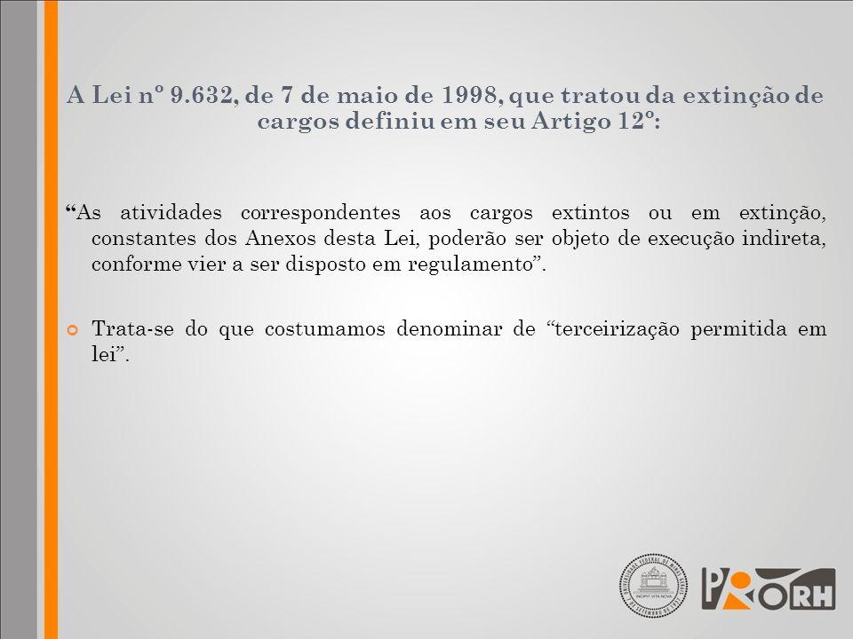 A Lei nº 9.632, de 7 de maio de 1998, que tratou da extinção de cargos definiu em seu Artigo 12º: As atividades correspondentes aos cargos extintos ou