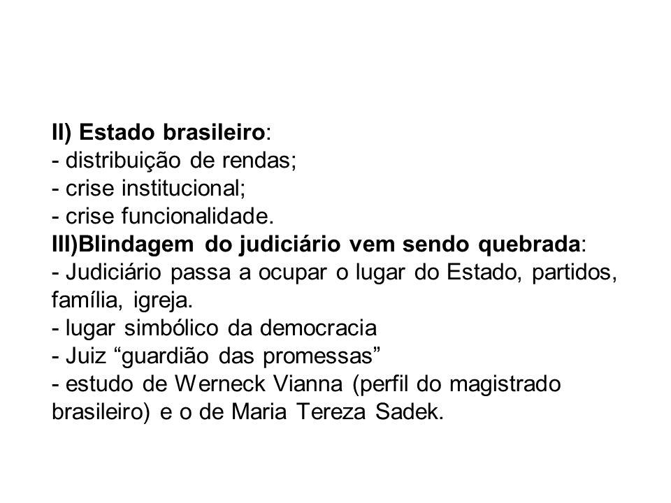 -Paradigmas francês/americano (a partir do controle de constitucionalidade); - má vontade do stablishement com o Judiciário