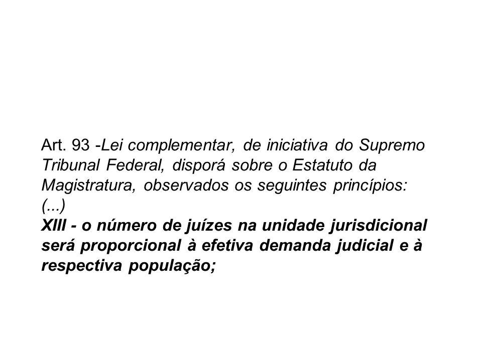 Art. 93 -Lei complementar, de iniciativa do Supremo Tribunal Federal, disporá sobre o Estatuto da Magistratura, observados os seguintes princípios: (.