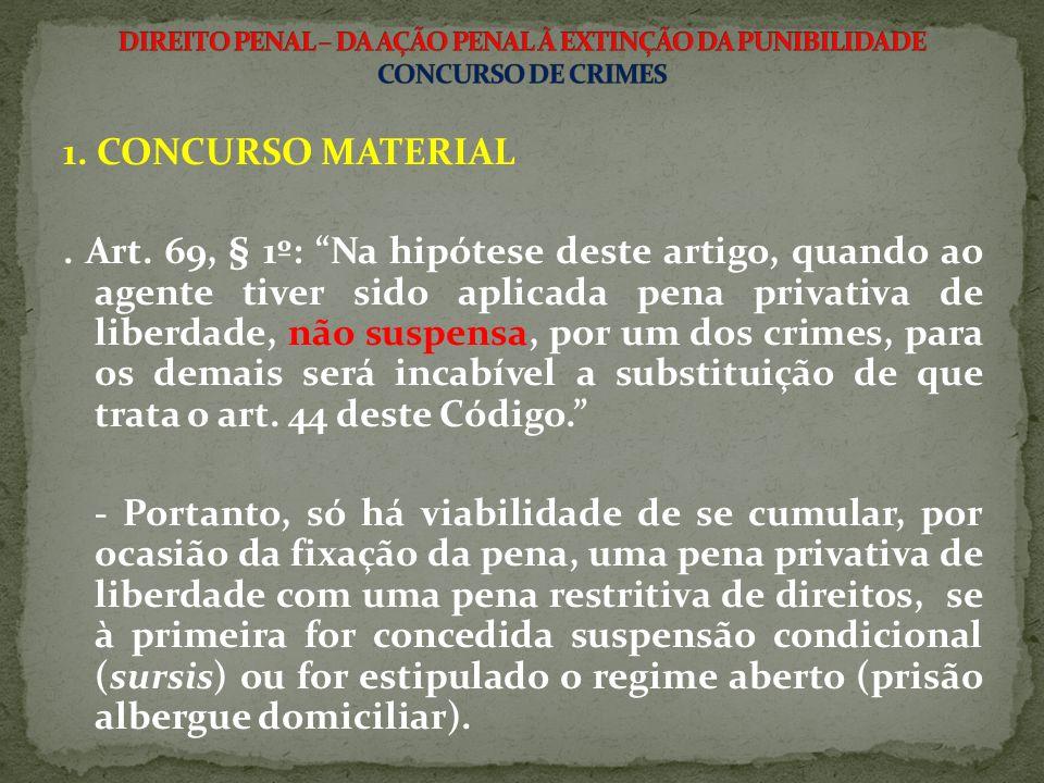 1. CONCURSO MATERIAL. Art. 69, § 1º: Na hipótese deste artigo, quando ao agente tiver sido aplicada pena privativa de liberdade, não suspensa, por um