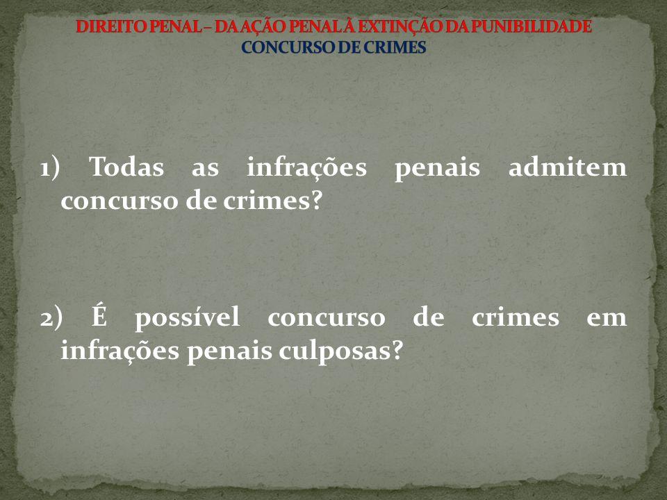 1) Todas as infrações penais admitem concurso de crimes? 2) É possível concurso de crimes em infrações penais culposas?