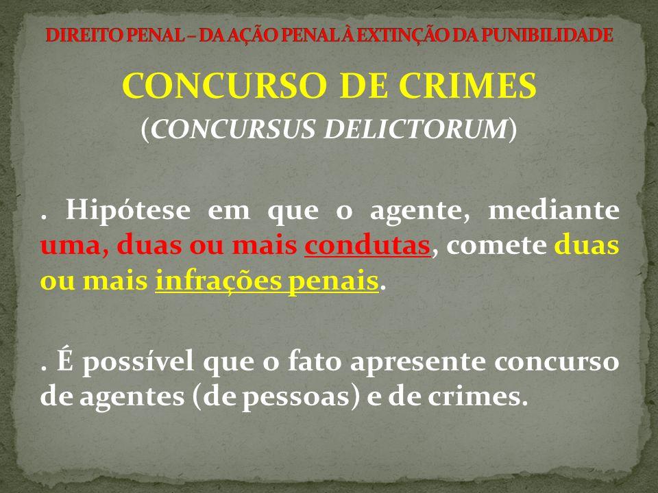 (CONCURSUS DELICTORUM). Hipótese em que o agente, mediante uma, duas ou mais condutas, comete duas ou mais infrações penais.. É possível que o fato ap