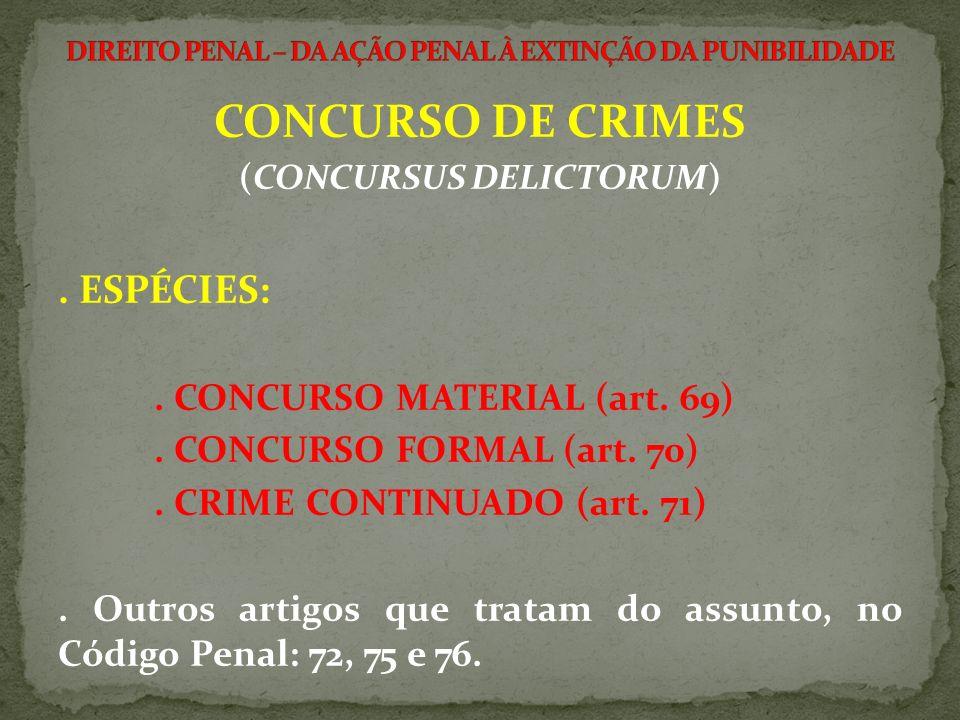 CONCURSO DE CRIMES (CONCURSUS DELICTORUM). ESPÉCIES:. CONCURSO MATERIAL (art. 69). CONCURSO FORMAL (art. 70). CRIME CONTINUADO (art. 71). Outros artig