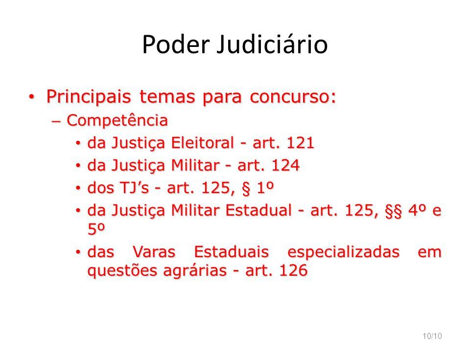 10/10 Poder Judiciário Principais temas para concurso: Principais temas para concurso: – Competência da Justiça Eleitoral - art. 121 da Justiça Eleito