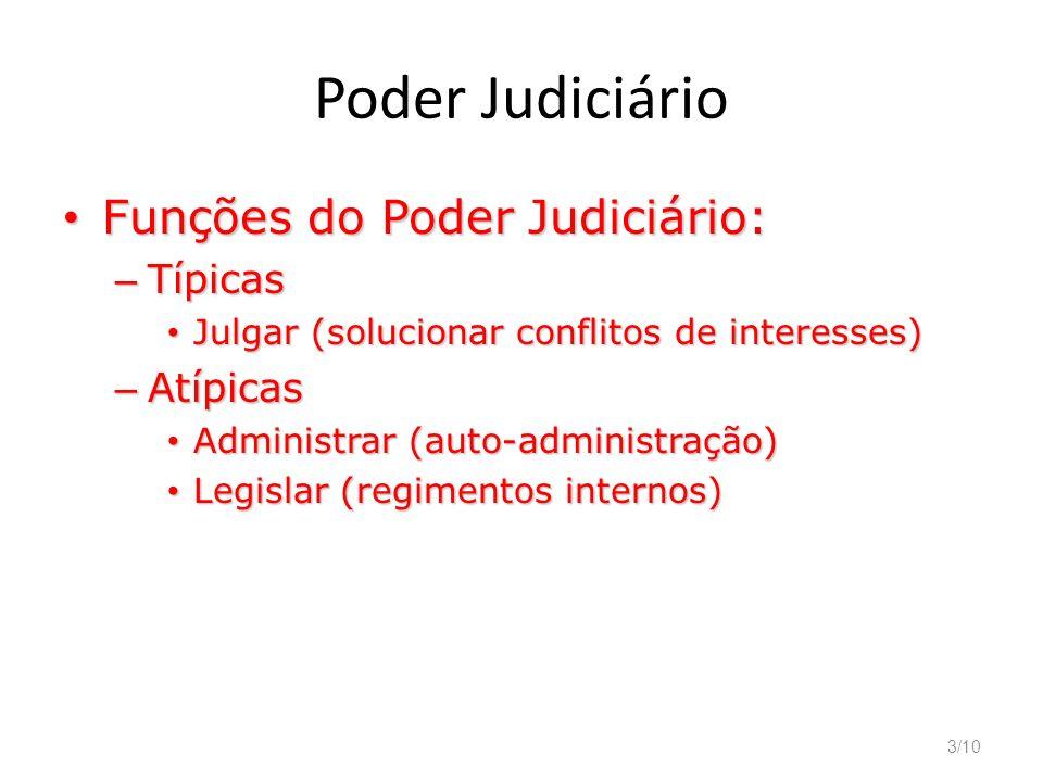 3/10 Poder Judiciário Funções do Poder Judiciário: Funções do Poder Judiciário: – Típicas Julgar (solucionar conflitos de interesses) Julgar (solucion