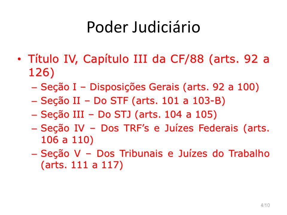 4/10 Poder Judiciário Título IV, Capítulo III da CF/88 (arts. 92 a 126) Título IV, Capítulo III da CF/88 (arts. 92 a 126) – Seção I – Disposições Gera