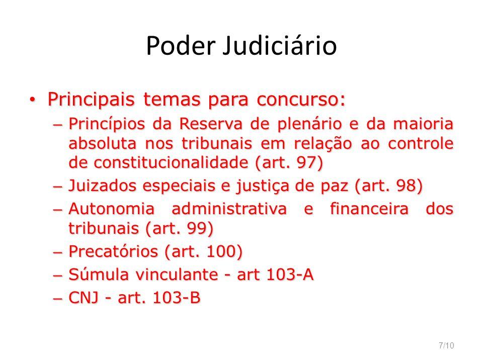 7/10 Poder Judiciário Principais temas para concurso: Principais temas para concurso: – Princípios da Reserva de plenário e da maioria absoluta nos tr