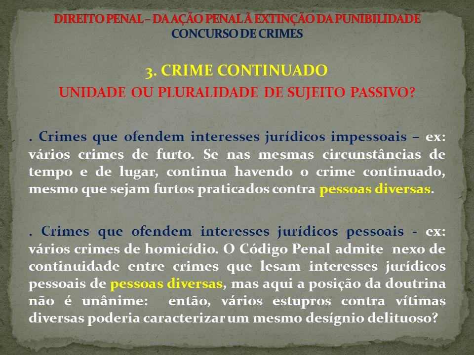 3.CRIME CONTINUADO UNIDADE OU PLURALIDADE DE SUJEITO PASSIVO?.