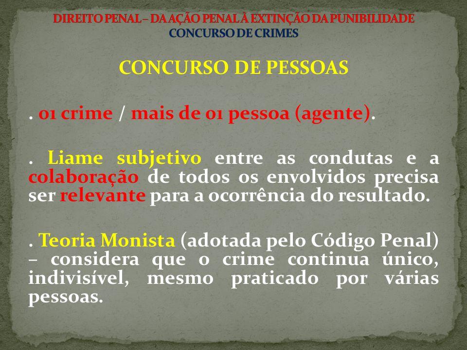CONCURSO DE PESSOAS.01 crime / mais de 01 pessoa (agente)..