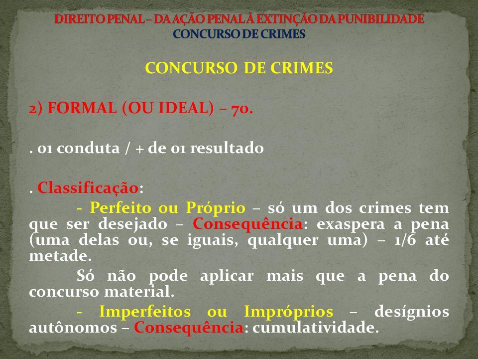 CONCURSO DE CRIMES 2) FORMAL (OU IDEAL) – 70..01 conduta / + de 01 resultado.