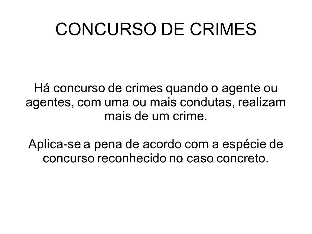 CONCURSO DE CRIMES Há concurso de crimes quando o agente ou agentes, com uma ou mais condutas, realizam mais de um crime. Aplica-se a pena de acordo c