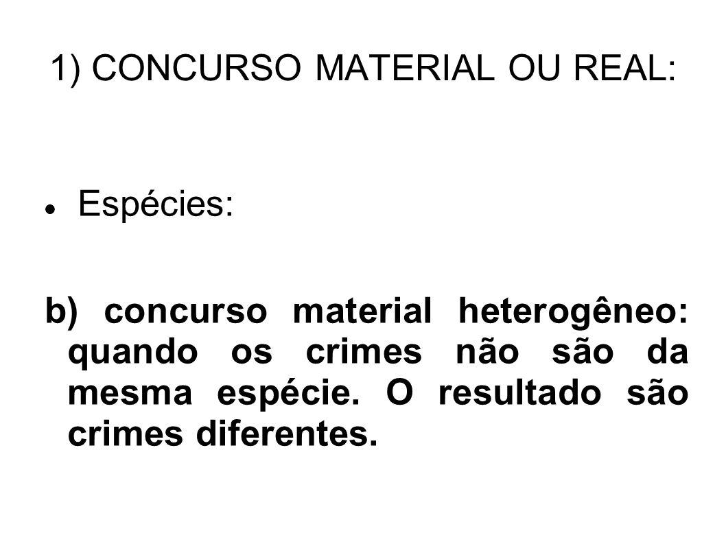 1) CONCURSO MATERIAL OU REAL: Espécies: b) concurso material heterogêneo: quando os crimes não são da mesma espécie. O resultado são crimes diferentes