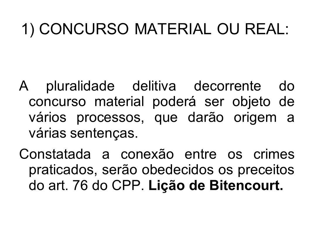 1) CONCURSO MATERIAL OU REAL: A pluralidade delitiva decorrente do concurso material poderá ser objeto de vários processos, que darão origem a várias