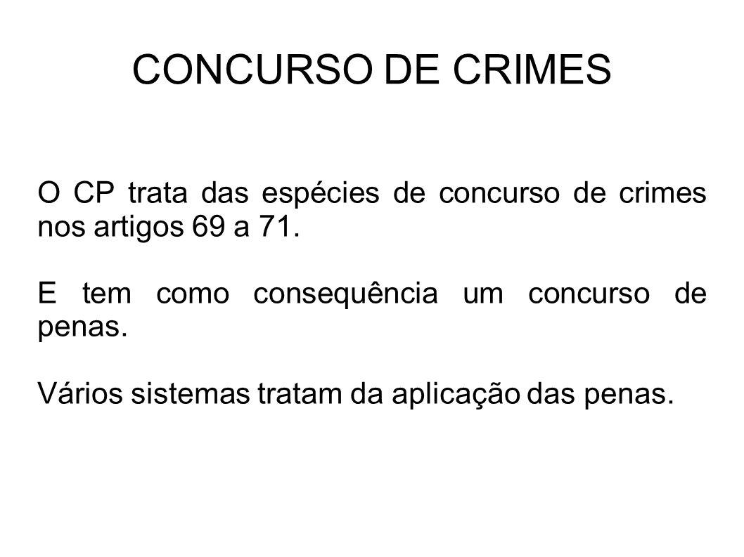 CONCURSO DE CRIMES O CP trata das espécies de concurso de crimes nos artigos 69 a 71. E tem como consequência um concurso de penas. Vários sistemas tr