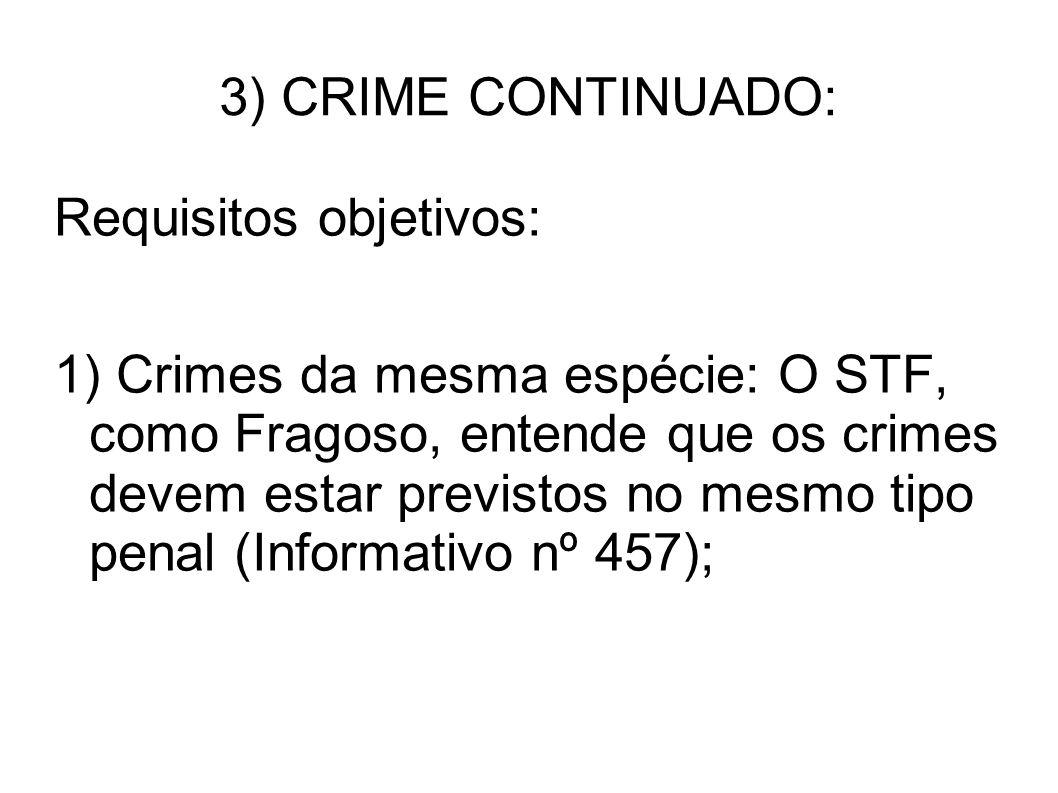 3) CRIME CONTINUADO: Requisitos objetivos: 1) Crimes da mesma espécie: O STF, como Fragoso, entende que os crimes devem estar previstos no mesmo tipo