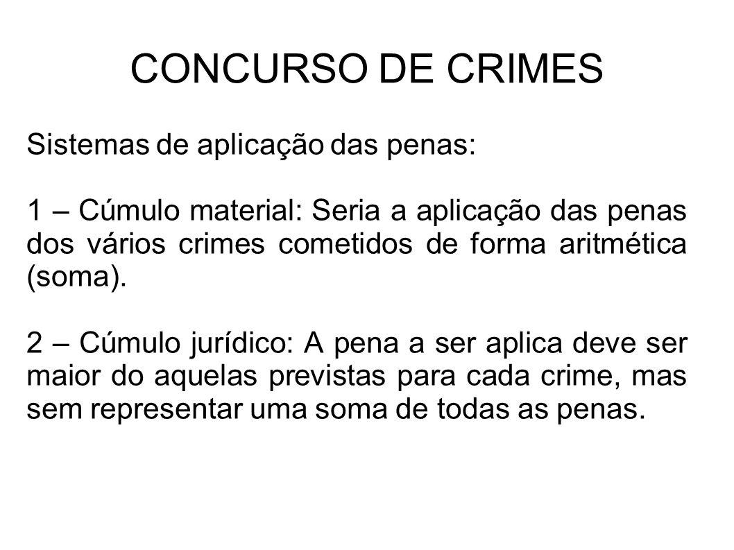 CONCURSO DE CRIMES Sistemas de aplicação das penas: 1 – Cúmulo material: Seria a aplicação das penas dos vários crimes cometidos de forma aritmética (