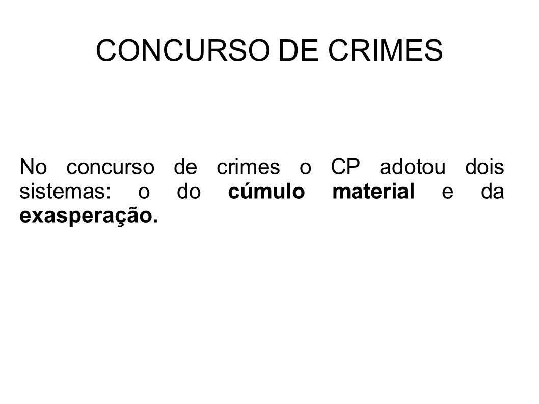 CONCURSO DE CRIMES No concurso de crimes o CP adotou dois sistemas: o do cúmulo material e da exasperação.