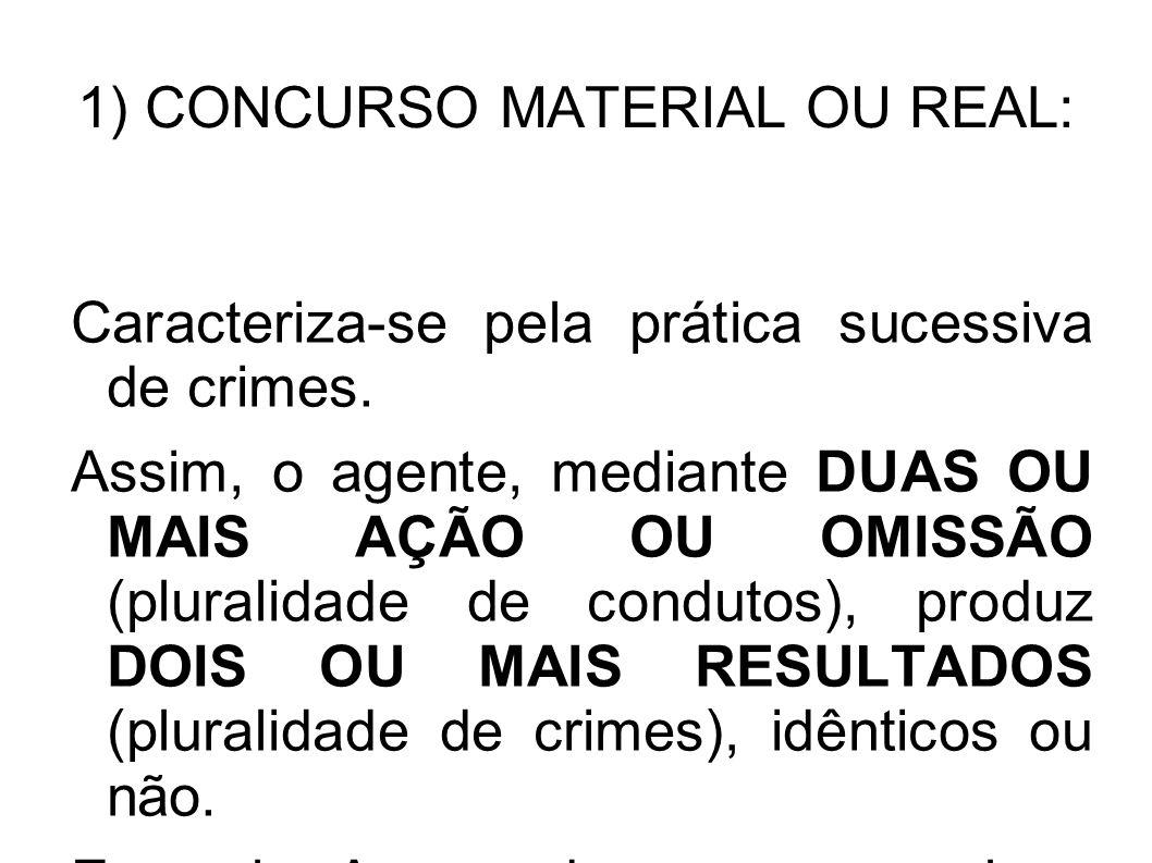 1) CONCURSO MATERIAL OU REAL: Caracteriza-se pela prática sucessiva de crimes. Assim, o agente, mediante DUAS OU MAIS AÇÃO OU OMISSÃO (pluralidade de