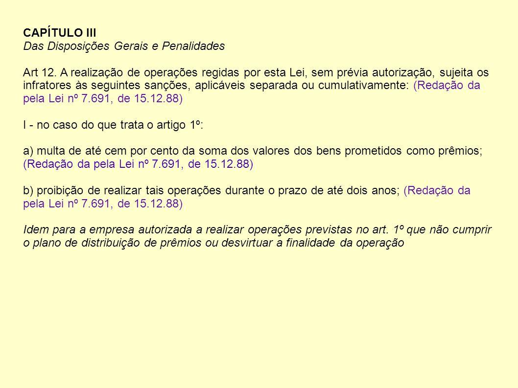 CAPÍTULO III Das Disposições Gerais e Penalidades Art 12. A realização de operações regidas por esta Lei, sem prévia autorização, sujeita os infratore