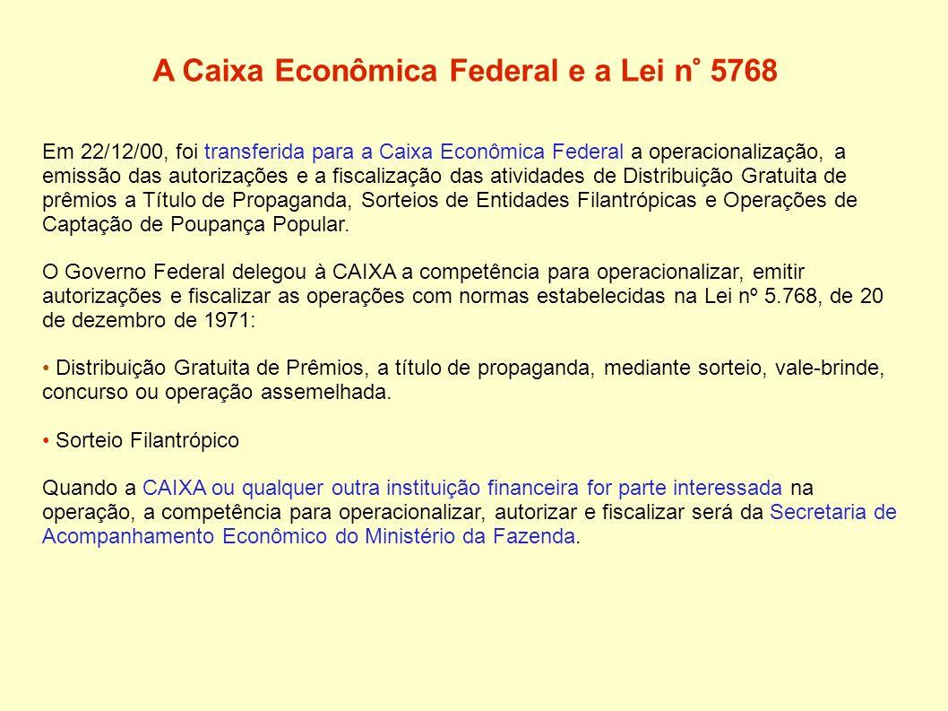 A Caixa Econômica Federal e a Lei n° 5768 Em 22/12/00, foi transferida para a Caixa Econômica Federal a operacionalização, a emissão das autorizações