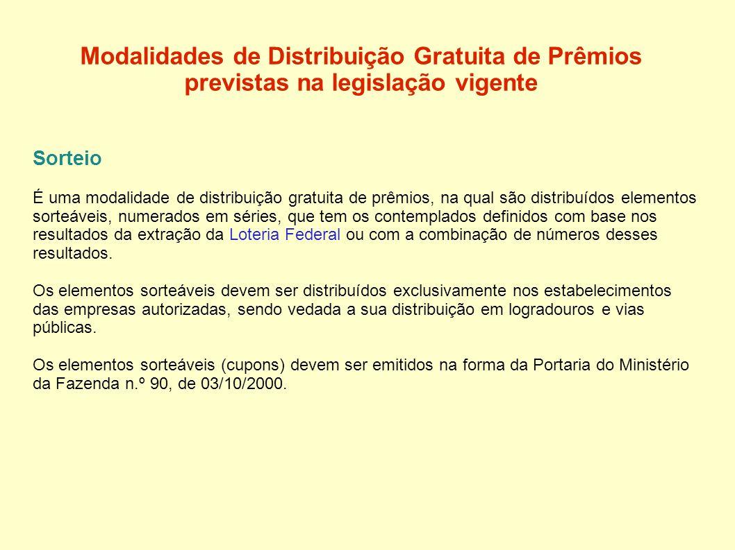 Modalidades de Distribuição Gratuita de Prêmios previstas na legislação vigente Sorteio É uma modalidade de distribuição gratuita de prêmios, na qual