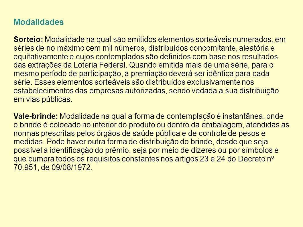 Modalidades Sorteio: Modalidade na qual são emitidos elementos sorteáveis numerados, em séries de no máximo cem mil números, distribuídos concomitante