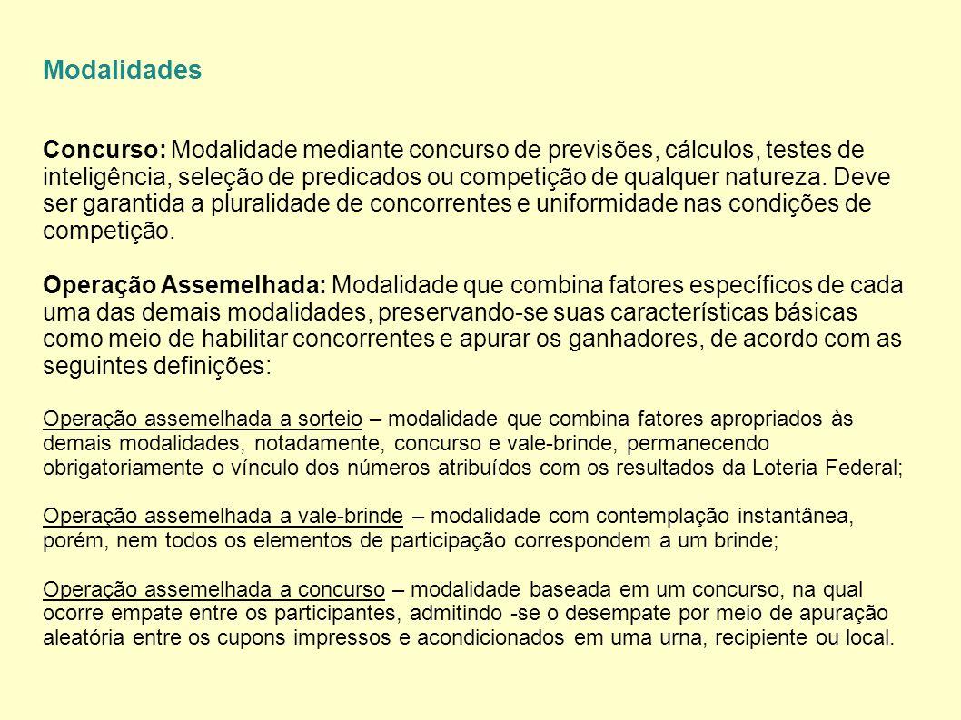 Modalidades Concurso: Modalidade mediante concurso de previsões, cálculos, testes de inteligência, seleção de predicados ou competição de qualquer nat