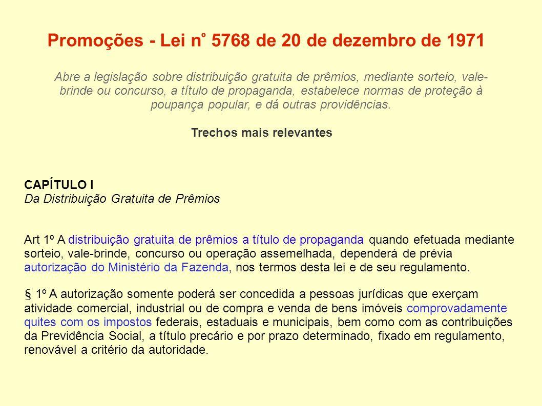 Promoções - Lei n° 5768 de 20 de dezembro de 1971 Abre a legislação sobre distribuição gratuita de prêmios, mediante sorteio, vale- brinde ou concurso