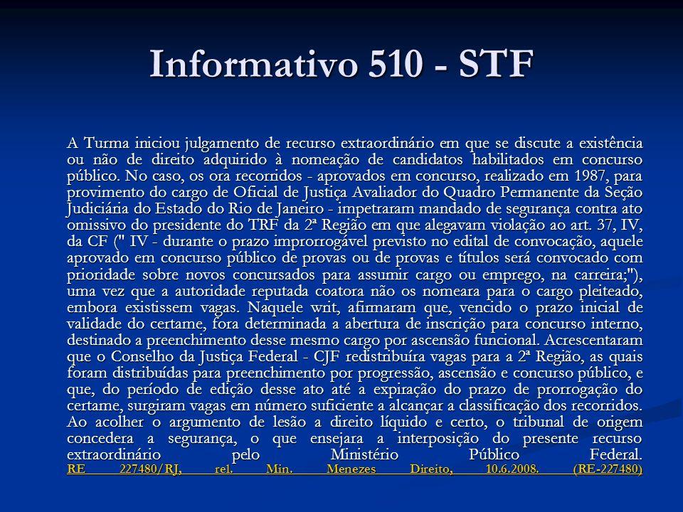 Informativo 510 - STF A Turma iniciou julgamento de recurso extraordinário em que se discute a existência ou não de direito adquirido à nomeação de candidatos habilitados em concurso público.