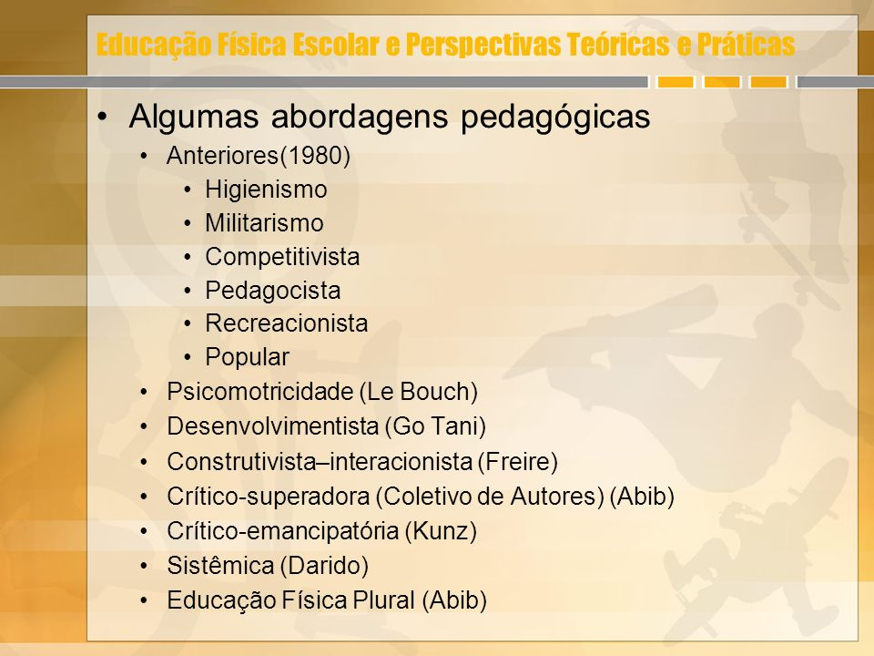 Educação Física Escolar e Perspectivas Teóricas e Práticas Algumas abordagens pedagógicas Anteriores(1980) Higienismo Militarismo Competitivista Pedag