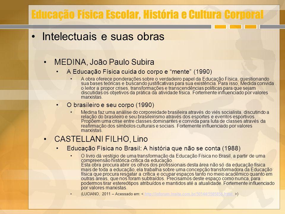 Educação Física Escolar, História e Cultura Corporal Intelectuais e suas obras MEDINA, João Paulo Subira A Educação Física cuida do corpo e mente (199