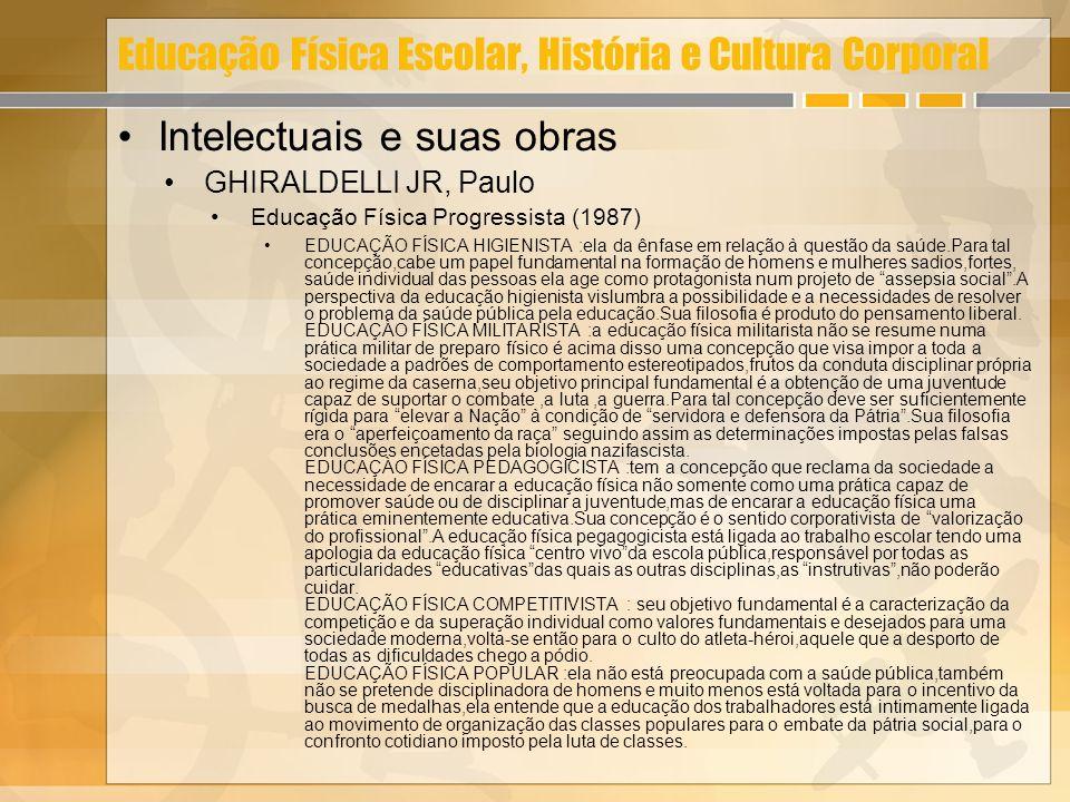 Educação Física Escolar, História e Cultura Corporal Intelectuais e suas obras GHIRALDELLI JR, Paulo Educação Física Progressista (1987) EDUCAÇÃO FÍSI