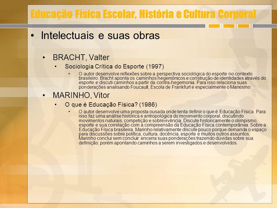 Educação Física Escolar, História e Cultura Corporal Intelectuais e suas obras BRACHT, Valter Sociologia Crítica do Esporte (1997) O autor desenvolve