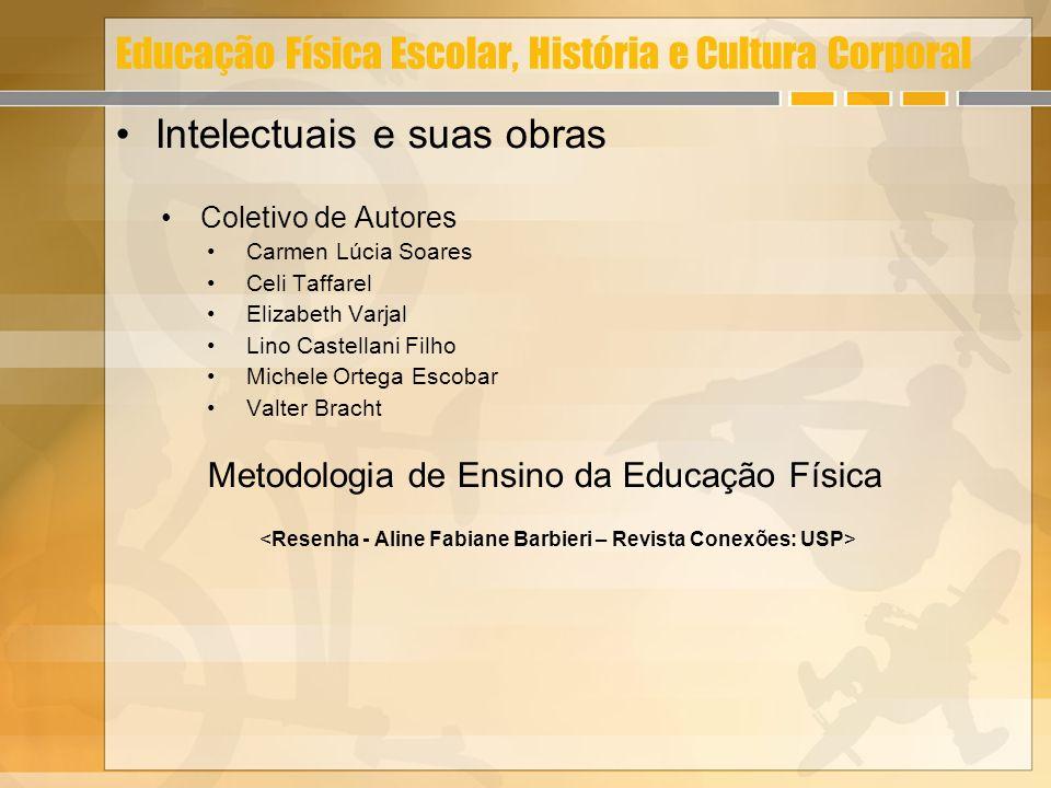 Educação Física Escolar, História e Cultura Corporal Intelectuais e suas obras Coletivo de Autores Carmen Lúcia Soares Celi Taffarel Elizabeth Varjal