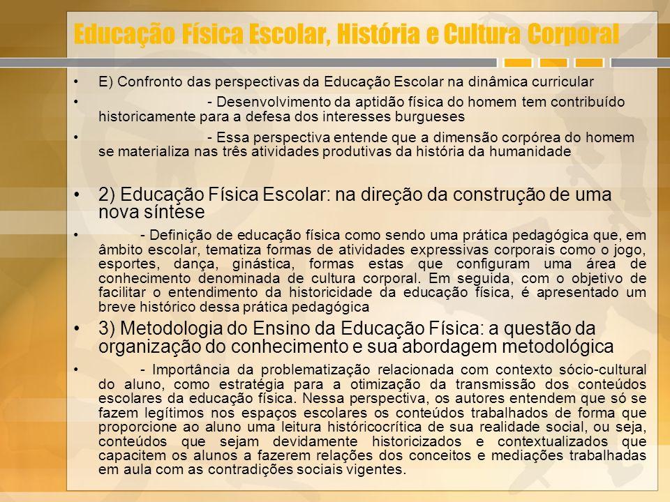Educação Física Escolar, História e Cultura Corporal E) Confronto das perspectivas da Educação Escolar na dinâmica curricular - Desenvolvimento da apt