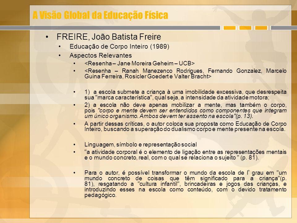 A Visão Global da Educação Física FREIRE, João Batista Freire Educação de Corpo Inteiro (1989) Aspectos Relevantes 1) a escola submete a criança à uma