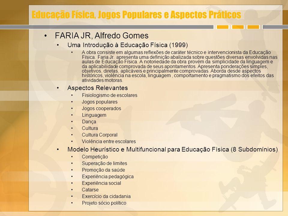 Educação Física, Jogos Populares e Aspectos Práticos FARIA JR, Alfredo Gomes Uma Introdução à Educação Física (1999) A obra consiste em algumas reflex