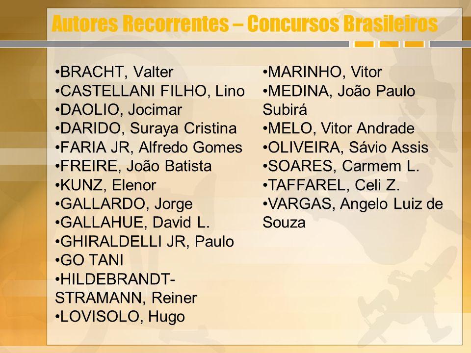 Autores Recorrentes – Concursos Brasileiros BRACHT, Valter CASTELLANI FILHO, Lino DAOLIO, Jocimar DARIDO, Suraya Cristina FARIA JR, Alfredo Gomes FREI