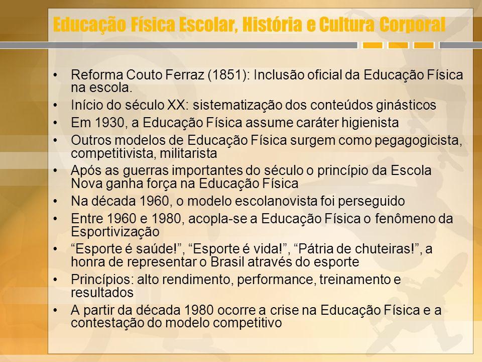 Educação Física Escolar, História e Cultura Corporal Reforma Couto Ferraz (1851): Inclusão oficial da Educação Física na escola. Início do século XX:
