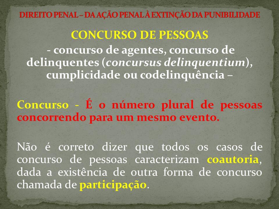 - concurso de agentes, concurso de delinquentes (concursus delinquentium), cumplicidade ou codelinquência – Concurso - É o número plural de pessoas co